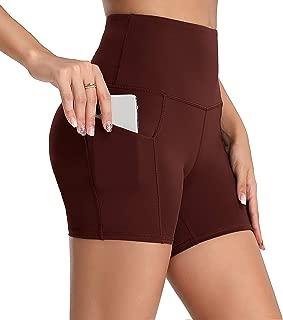 Oalka Women's Short Yoga Side Pockets High Waist Workout Running Sports Shorts 4