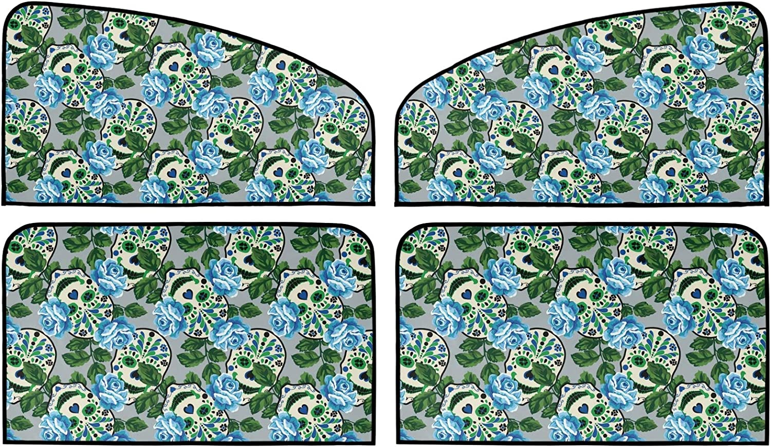 Floral Skull Car Sun Shade 4 2021new Max 61% OFF shipping free Summer Universal Ma Pack Insulation