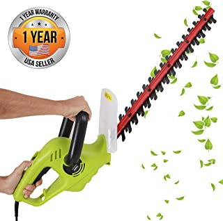 Serenelife Corded Electric Handheld Hedge Trimmer - 4 Amp Electrical High Powered Hand Garden Trimmer Tool w/ 18 Inch Blade, Trims Bush, Shrub, Grass, Small Tree Branch