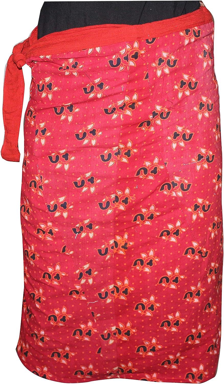 Lakkar Haveli Red Color Women's Wrapron Skirt Baggie Casual Beach Wear Floral Print Gypsy Plus Size (9XL)