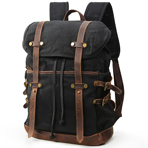15f55a6fd8aa Lifewit 15.6-17.3 Inch Large Capacity Laptop Backpack Vintage Canvas  Leather Computer Rucksack Daypack for