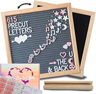 Felt Letter Board with Letters – 10x10 Gray/Black 2in1 Magnetic Chalkboard Message Board: 615 Precut Felt Board Letters, Oak Frame & Stand for Baby Announcement Board with Letters; Farmhouse Decor