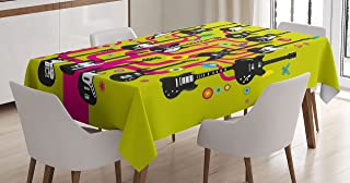 Ambesonne Music Tablecloth, Guitars for Rock Stars Above a Tree Plant Modern Geometric Design Print, Dining Room Kitchen Rectangular Table Cover, 52