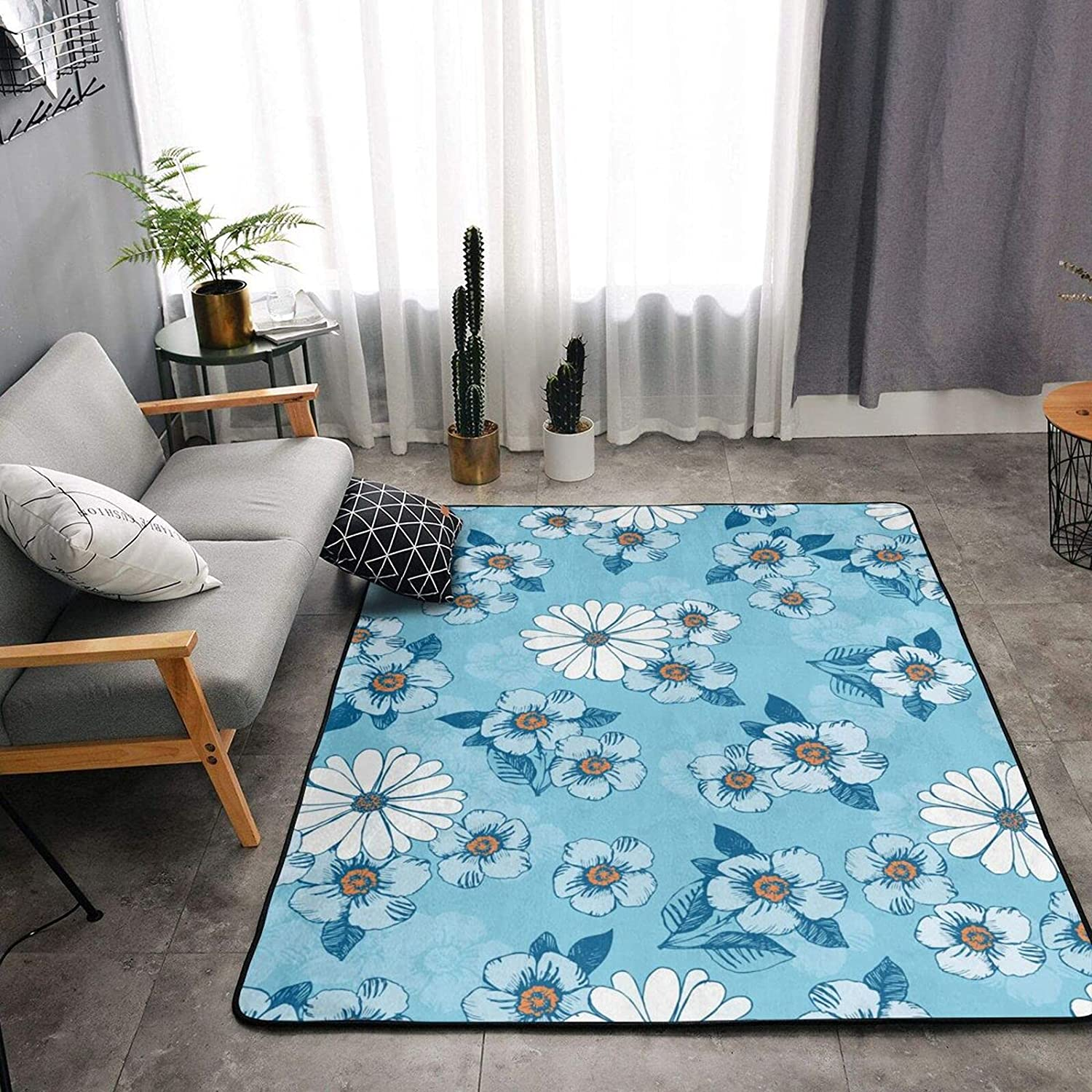 Blue Daisy Fort Worth Ranking TOP5 Mall Flower Soft Area Rugs Shaggy Room Living Bedroom for