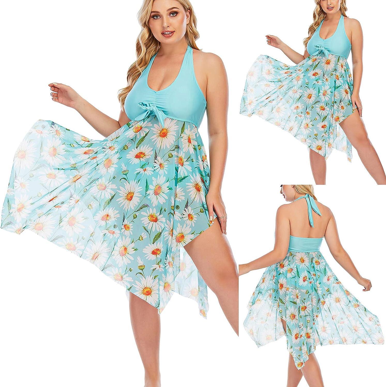 Womens Summer Plus Size High Waist Casual Sexy Floral Swimsuit Skirt Bikini Beachwear Swimwear Tankini Bathing Suits