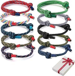 Set di braccialetti intrecciati da 10 pezzi per uomo donna, braccialetto da surf nautico colorato in corda marina per uomo...
