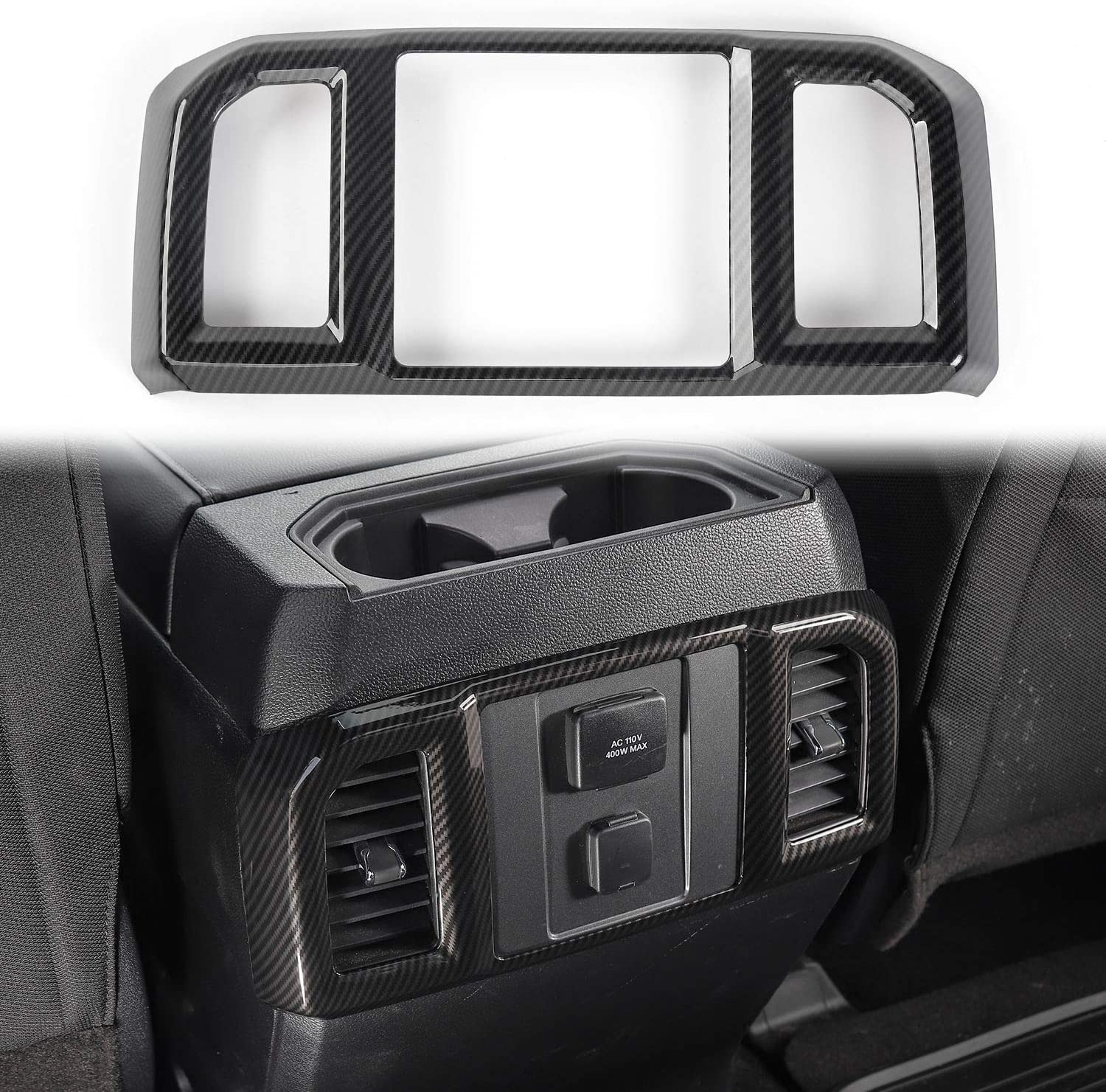 Voodonala for F-150 ABS Carbon Fiber Rear Air Conditioning Vent Panel Trim for 2016-2019 Ford F150 1pc