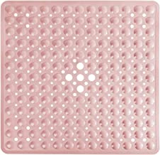 Yimobra Square Bathtub Shower Mat Non-Slip Suction Cups with Drain Holes Machine Washable 21 x 21 Inches (Pink)