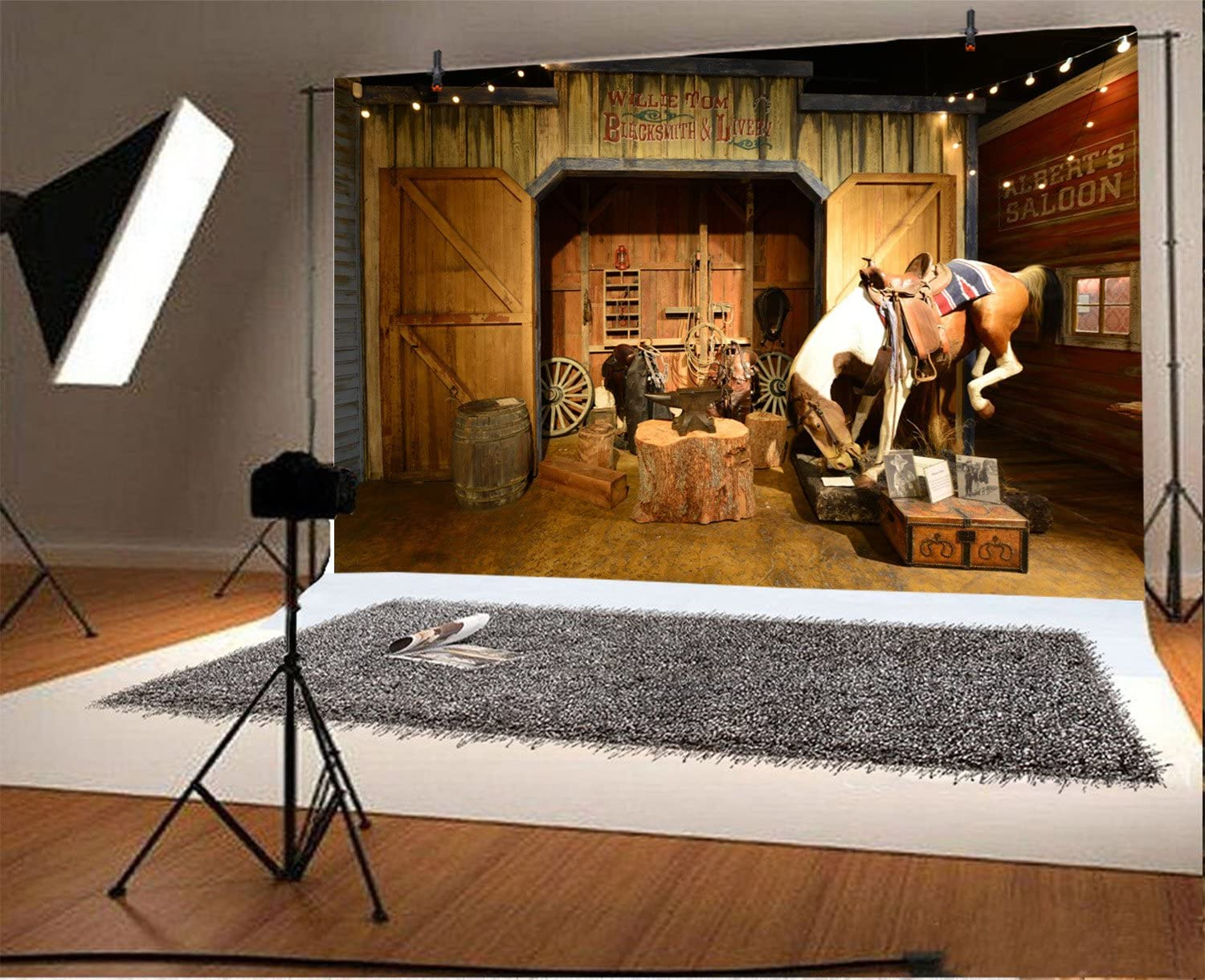 Yeele 10x8ft Wild West Backdrop for Photography Old Western Cowboy Saloon Saddle Background Party Decoration Banner Kids Man Children Boy Photo Booth Shoot Vinyl Studio Props