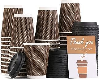 مجموعة اكواب معزولة للاستعمال مرة واحدة بسعة 12 اونصة مع اغطية مكونة من 40 قطعة للمشروبات الساخنة والماء والعصير والقهوة و...
