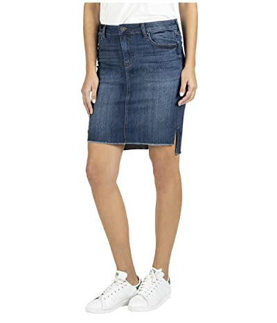 KUT from the Kloth Connie High-Low Skirt Fray Hem (Affectionate) Women