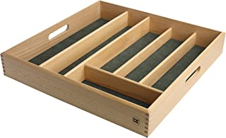 Drawer Size Cutlery Tray In FSC Beech With Green Lining