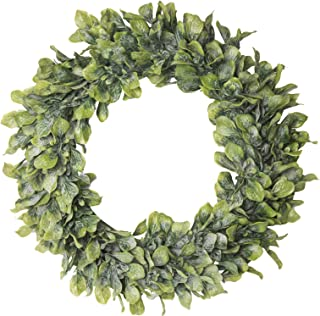 I.C.ELAINE Boxwood Wreath with Artificial Eucalyptus Leaves 16 inches