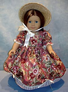 18 Inch Doll Clothes - Cinnamon Floral Stripe Gown and Poke Bonnet handmade by Jane Ellen to fit 18 inch dolls