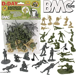 BMC WW2 D-Day Plastic Army Men - 34 American, British, German Soldier Figures