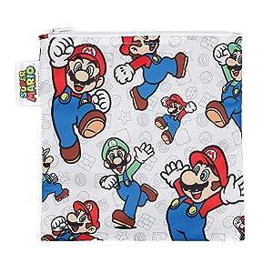 Bumkins Sandwich Bag / Snack Bag, Nintendo Reusable, Washable, Food Safe, BPA Free, 7x7 – Mario/Luigi