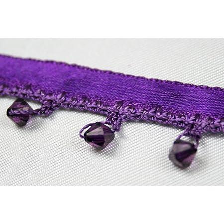 Altotux Beaded Fringe Trim 1-3//8 Light Blue Faceted Acrylic Beads on Ribbon