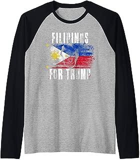 Filipino For Trump - American and Philippines Patriotic 2020 Raglan Baseball Tee