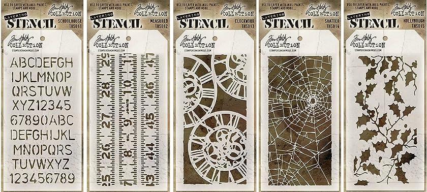Tim Holtz Stencils Set - #11 to #15 - Schoolhouse, Measured, Clockwork, Shatter & Holly Bough - 5 Item Bundle
