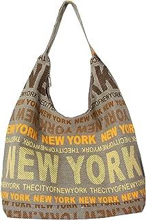 New York City Cotton Fabric Hobo Shoulder Bag