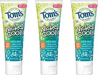 Tom's of Maine Natural Wicked Cool! Fluoride Toothpaste for Kids, Mild Mint, 5.1 oz. 3-Pack