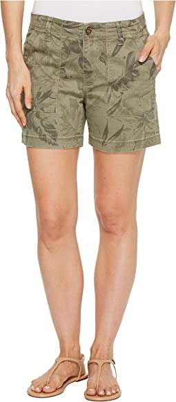 "Printed Stretch Twill 5"" Shorts w/ Patch Pocket"