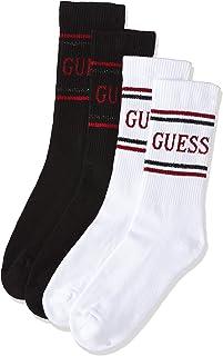 GUESS Women's Regular Socks 2 Packs, Black (Black/Red F91I), Free Size