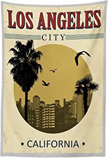 Lunarable USA Tapestry, Los Angeles City from California in Vintage Style Birds Vacation Journey Travel Theme, Fabric Wall Hanging Decor for Bedroom Living Room Dorm, 30