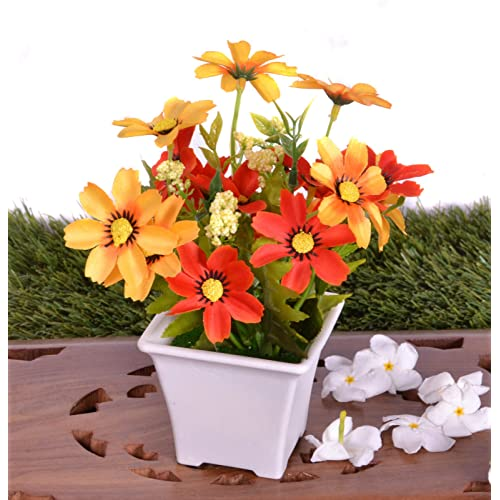 Pindia Artificial Yellow Flower Plant with Pot for Home & Office Décor-12 * 12 * 17 cms