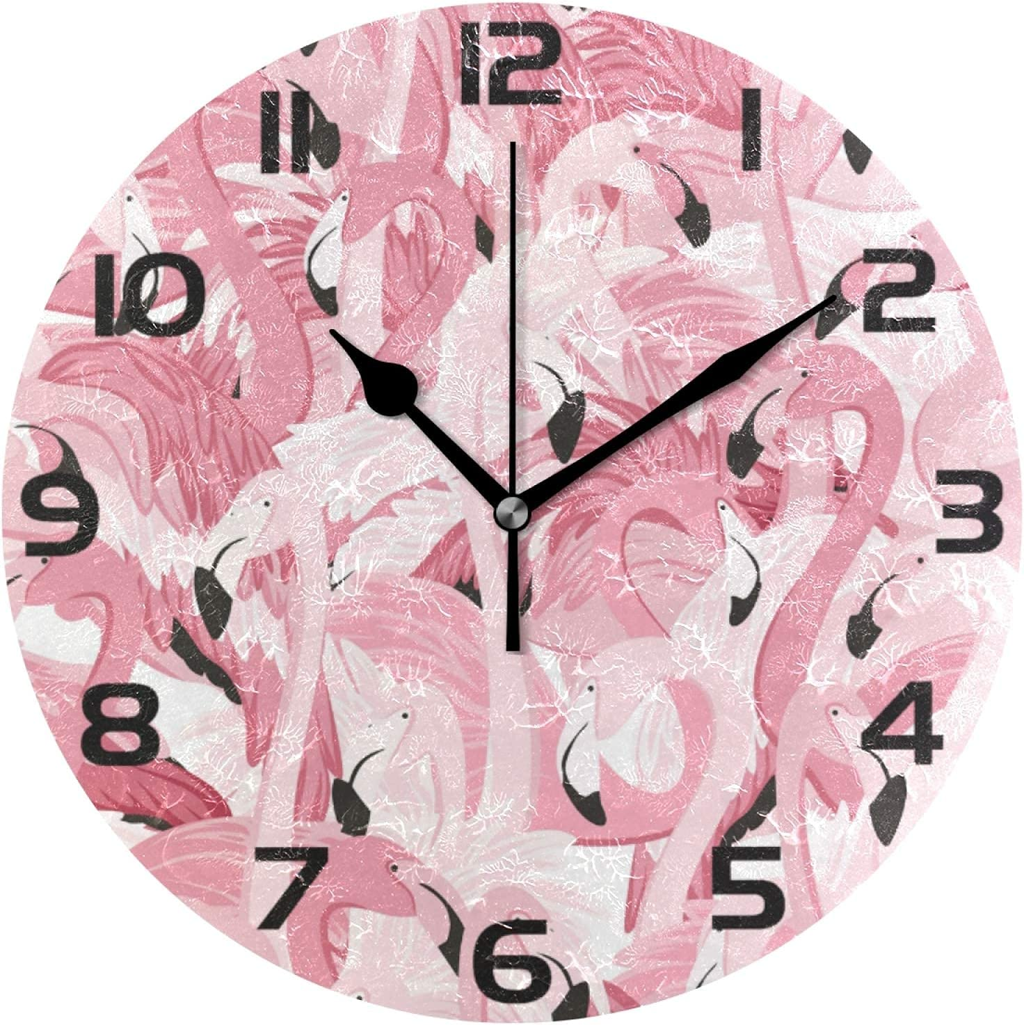 DKISEE Family Office Wall High order Clock Pink Ro Seamless Milwaukee Mall Flamingos
