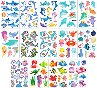 Phogary Kids Temporary Tattoos(100pcs+), Sea World Theme Tattoos (14 Sheets) - Fish, Shark, Turtle, Seahorse, Sea Star, Octopus, Crab - Marine Life Patterns Fake Waterproof Tattoos for Boys Girls