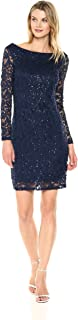 Marina Women's All Over Lace Dress with Long Sleeve and Scoop Back