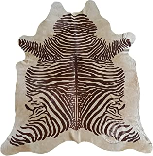 Zebra Brown on Beige Cowhide Rug, Large Size 6ft. x 7ft. 180cm x 210cm - Brazilian