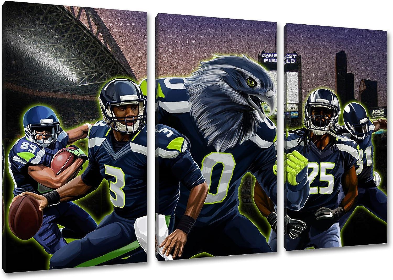 Seattle Football, Fan Artikel Leinwandbild 3Teiler Gesamtma 120x80cm, Auf Holzrahmen gespannt, Kein Poster oder billig Plakat, Must Have für echte Fans