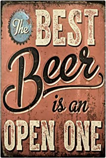 UNiQ Designs Vintage Beer Tin Signs The Best Beer is an Open One Funny Metal Beer Signs - Bar Signs Vintage Beer Wall decor Alcohol Signs - Funny Signs for Bar Beer Decorations Bar Sign Decor 12x8