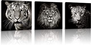 FUNHUA Pictures of Tiger Lion Leopard for Boys Bedroom Office KTV Wall Decor Black and White Animals Posters and Prints with Wooden Frame 12x12inchx3pcs
