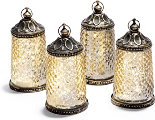 """Gold Mercury Glass Tabletop Lanterns - Set of 4, Warm White LED Lights, 5.5"""" Height, Antique Bronze Accents, Battery Operated, For Ramadan, Weddings and Home Decor"""