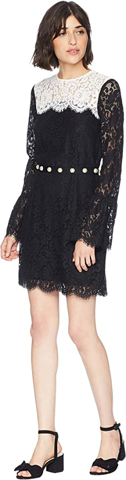 Color Block Lace Bell Sleeve Dress