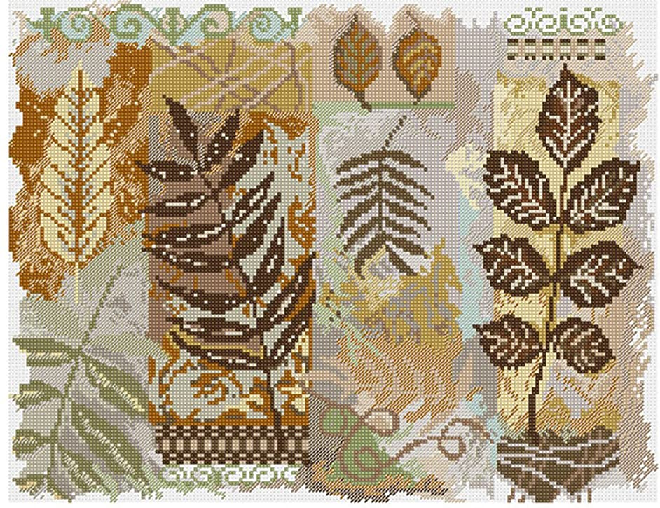 M C G Textiles 14 Count Abstractions Leaves Counted Cross Stitch Kit, 14 by 11-Inch