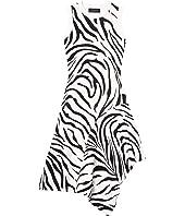 Fully Fashioned Sleeveless Zebra Print Handkerchief Dress