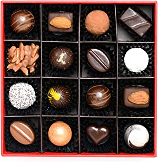 ANJALICHOCOLAT Gift Box of 16 Artisanal Chocolate Bonbons and Truffles: Classic Flavours