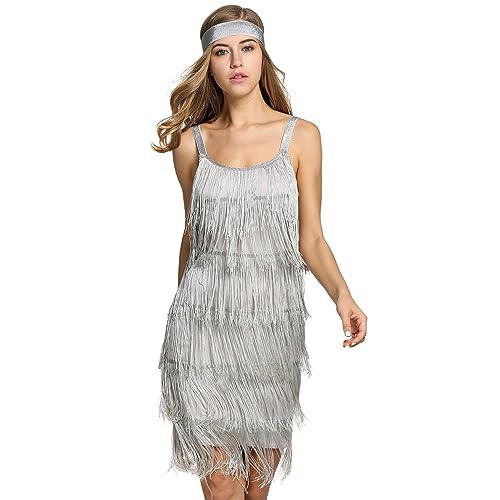 Bifast Women s Flapper Dresses Vintage 1920s V Neck Beaded Fringed Lace  Tassels Hem Flapper Great Gatsby ebdaf3cea