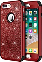 iPhone 8 Plus Case, iPhone 7 Plus Case, Hython Heavy Duty Defender Protective Case Bling Glitter Sparkle Hard Shell Armor Hybrid Shockproof Rubber Bumper Cover for iPhone 7 Plus and 8 Plus, Red