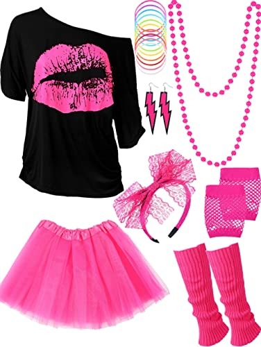 80s Costume Accessories Set T-Shirt Tutu Headband Earring Necklace Leg Warmers