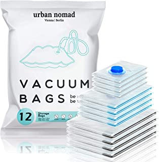 Urban Nomad Sac sous Vide Vetement Aspirateur Lot de 12 - Réutilisable Sacs Compression XL, L, M | 80% l'espace de Stockag...