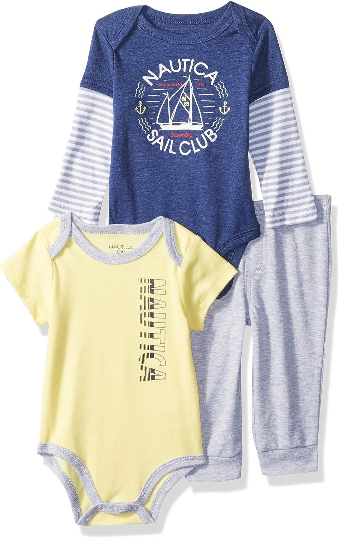 Nautica Baby Boys' 3 Pieces Bodysuit Pant Set