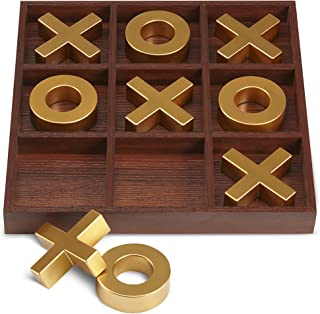 "REFINERY AND CO. 10 Piece Premium Solid Wood Tic-Tac-Toe Board Game, Giant Gold 14"" Outdoor/Indoor Party Set Toy For Children/ Adults, Perfect For Backyard Entertainment, Classic Coffee Table Home Déc"