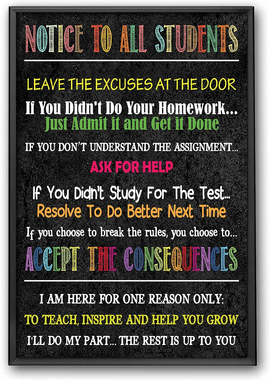 Beauty products Notice To All Students Classroom Cla School Teacher Poster Overseas parallel import regular item Sign