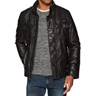 Levi's Men's Faux-Leather... Levi's Men's Faux-Leather Trucker Jacket with Sherpa Lining