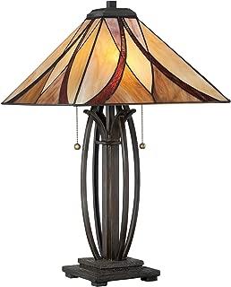 Quoizel TF1180TVA Asheville Tiffany Table Lamp, 2-Light, 150 Watts, Valiant Bronze (25